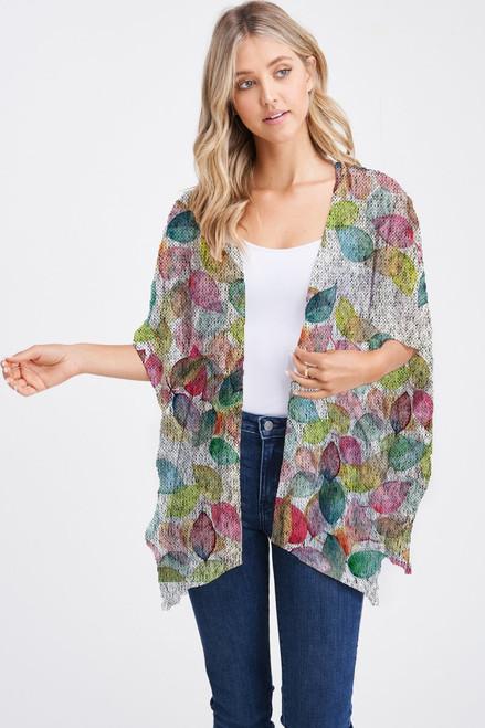 Et' Lois Hazy Colorful Leaves Soft Knit Open Wrap Shawl