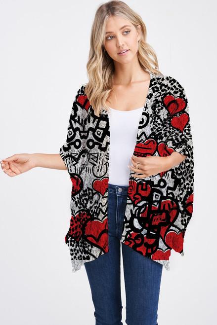 Et' Lois Hazy Heart Sketch Design Soft Knit Open Wrap Shawl