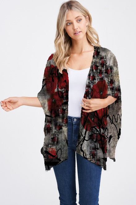 Et' Lois Hazy Red Poppies Soft Knit Open Wrap Shawl