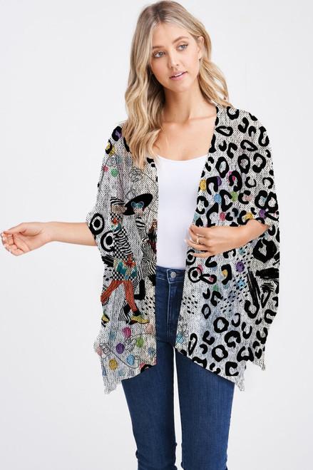 Et' Lois Hazy Fashionable Meerkat & Leopard Print Soft Knit Open Wrap Shawl