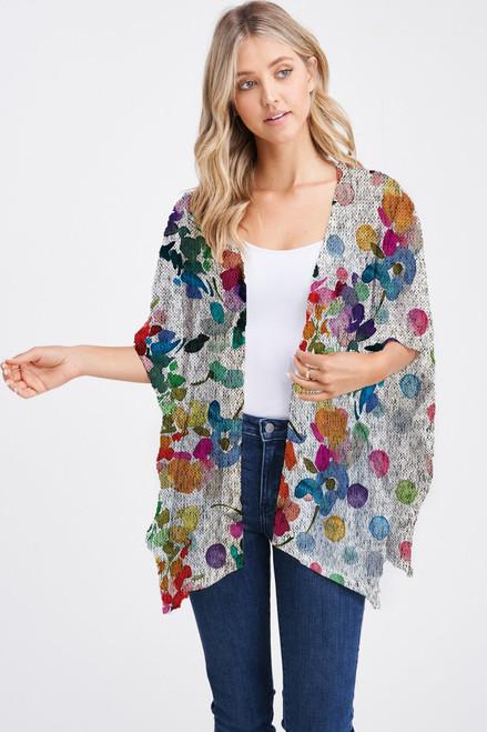 Et' Lois Hazy Rainbow Watercolor Flowers Soft Knit Open Wrap Shawl