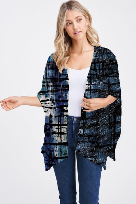 Et' Lois Hazy Deep Blue Abstract Soft Knit Open Wrap Shawl