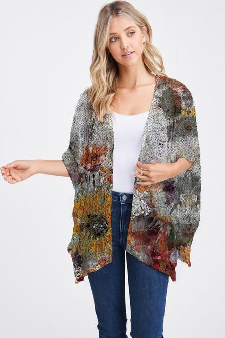 Et' Lois Hazy Sunflower Oil Painting Soft Knit Open Wrap Shawl