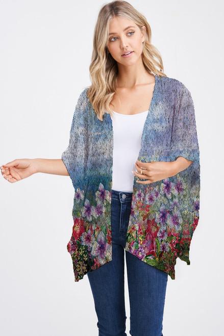 Et' Lois Hazy Blue Skies & Meadow Flowers Print Soft Knit Open Wrap Shawl