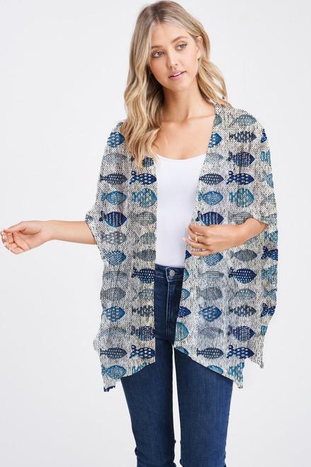 Et' Lois Hazy Blue Fish Print Soft Knit Open Wrap Shawl