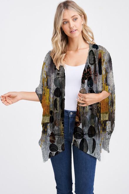 Et' Lois Hazy Autumnal Skipping Stones Soft Knit Open Wrap Shawl