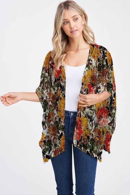 Et' Lois Hazy Autumnal Flowers Print Soft Knit Open Wrap Shawl