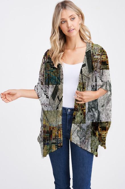 Et' Lois Hazy Architect Design Print Soft Knit Open Wrap Shawl
