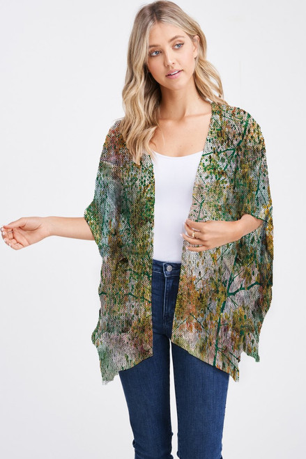 Et' Lois Hazy Multicolored Stain With Dandelion Soft Knit Open Wrap Shawl