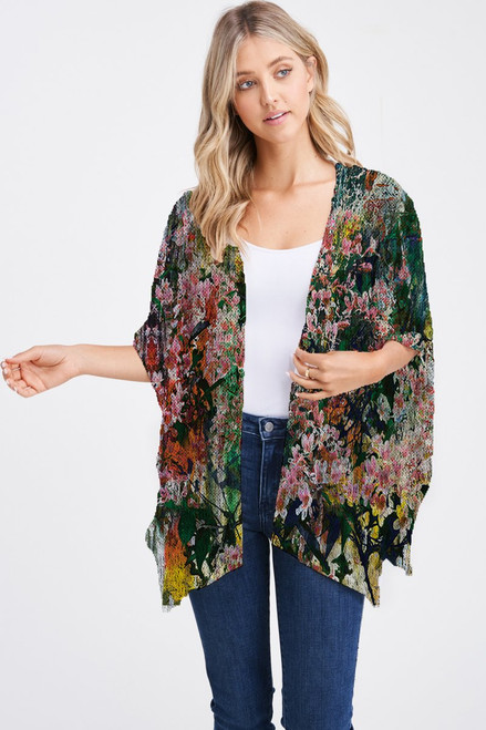 Et' Lois Hazy Colorful Cherry Blossom Print Soft Knit Open Wrap Shawl