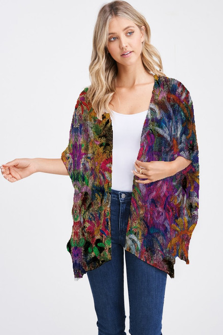Et' Lois Hazy Vibrant Abstract Colorful Floral Print Soft Knit Open Wrap Shawl