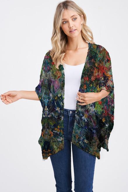 Et' Lois Hazy Garden Floral Painting Print Soft Knit Open Wrap Shawl