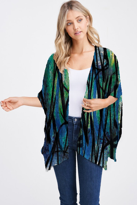 Et' Lois Hazy Abstract Blue Green Black Lines Print Soft Knit Open Wrap Shawl