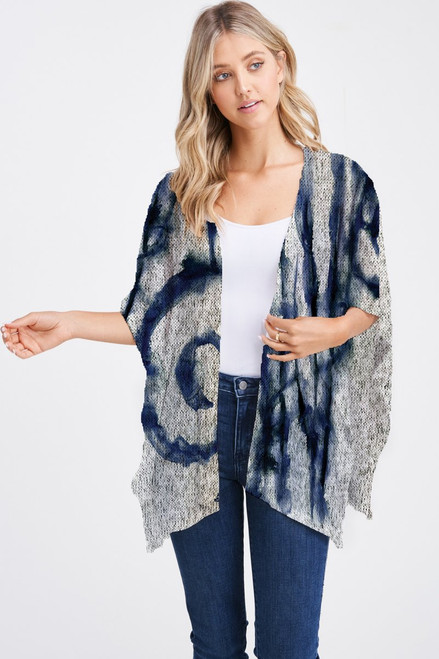 Et' Lois Hazy Dark Blue Watercolor Swirl Print Soft Knit Open Wrap Shawl