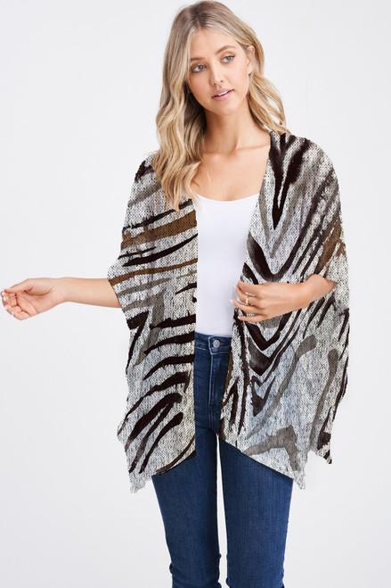 Et' Lois Hazy Palm Tree Lead Shadow Print Soft Knit Open Wrap Shawl