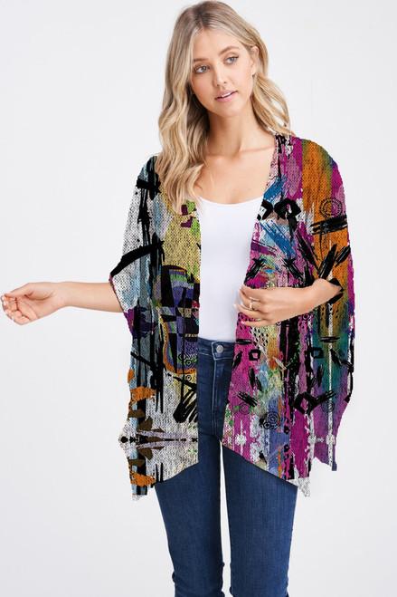 Et' Lois Hazy Vibrant Color Abstract Print Soft Knit Open Wrap Shawl