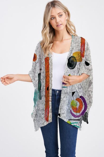 Et' Lois Hazy Squiggles & Lines Soft Knit Open Wrap Shawl