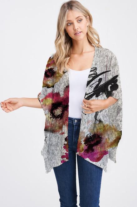 Et' Lois Hazy Flower Watercolor Stain Print Soft Knit Open Wrap Shawl