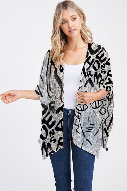 Et' Lois Hazy Thick Line Letters With Face Print Soft Knit Open Wrap Shawl