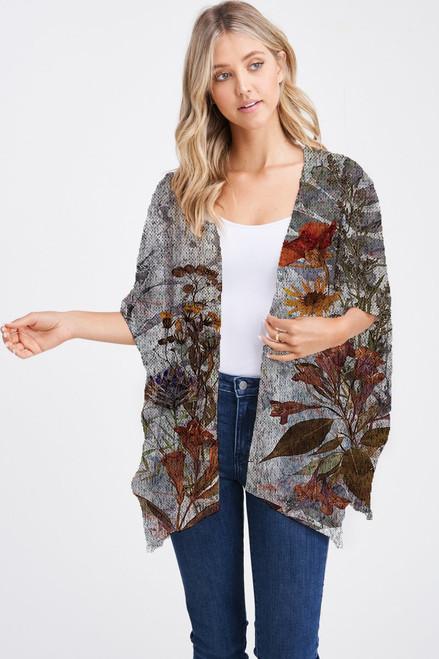 Et' Lois Hazy Grey Floral Print Soft Knit Open Wrap Shawl