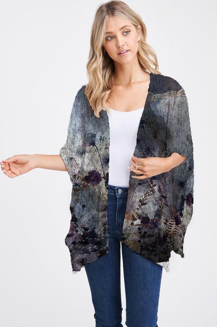 Et' Lois Hazy Dark Day Floral Print Soft Knit Open Wrap Shawl