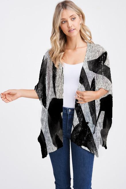 Et' Lois Hazy Black & White Brushstroke Soft Knit Open Wrap Shawl