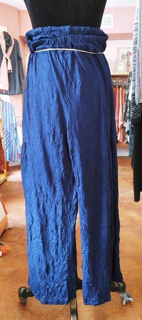Shana Navy Crinkle Fabric Wide Leg Palazzo Pant