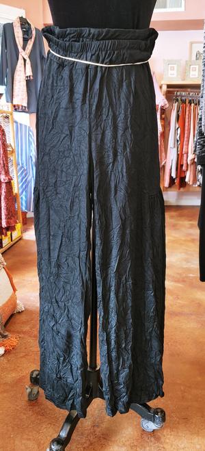 Shana Black Crinkle Fabric Wide Leg Palazzo Pant