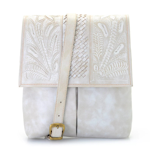 Leaders in Leather Bone Hand Tooled Woven Leather Crossbody