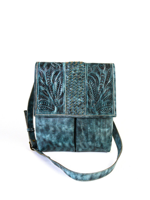 Leaders in Leather Aqua Hand Tooled Woven Leather Crossbody