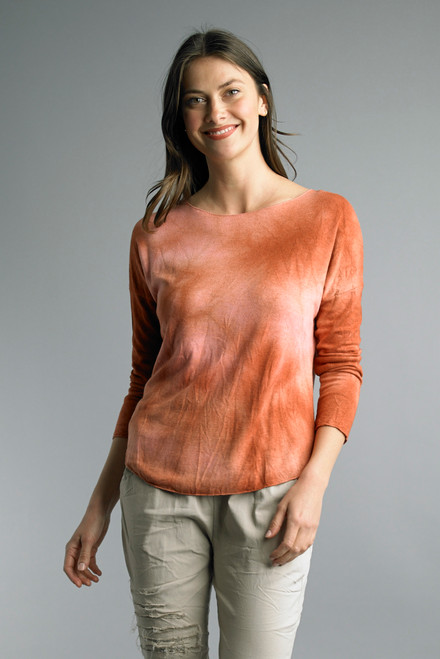 Tempo Paris Brick Red Tie Dye Long Sleeve Dropped Shoulder Relaxed Top