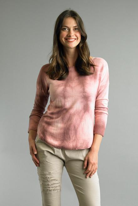 Tempo Paris Mauve Tie Dye Long Sleeve Dropped Shoulder Relaxed Top