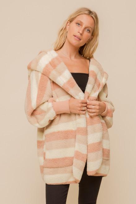 Hem & Thread Pink and White Stripe Fleece Cozy Jacket