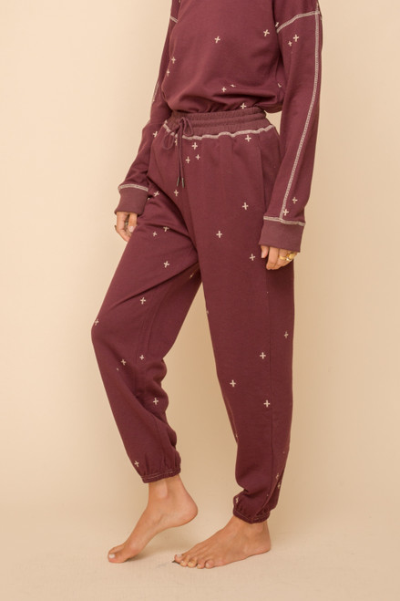 Hem & Thread Burgundy Cotton Embroidery Sweatpants with Pockets