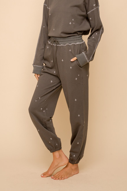 Hem & Thread Charcoal Cotton Embroidery Sweatpants with Pockets