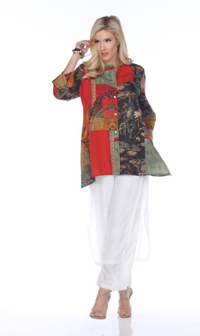 Aris A Red Multi-Print 3/4 Kimono Sleeve A-Line Button Up Blouse with Pockets