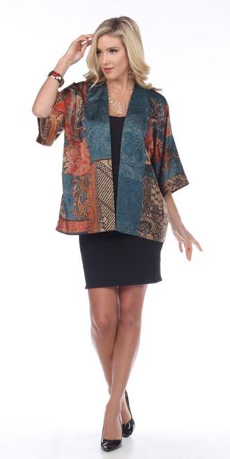 Aris A Multi-Color Abstract Print Short Kimono Sleeve Boxy Fit Cardigan
