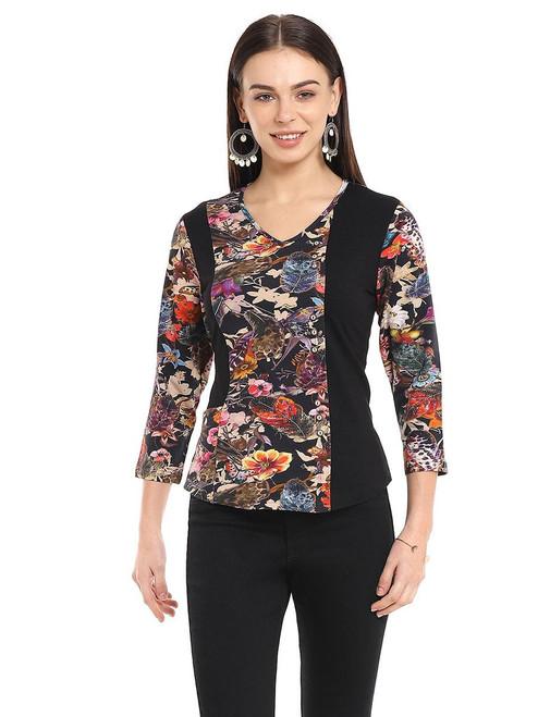 Parsley & Sage Dark Floral Print Cotton Blend V-Neck 3/4 Sleeve Top