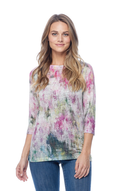 French Dressing Jeans Abstract Printed Burnout Boatneck 3/4 Sleeve Top