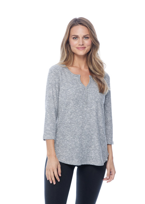 French Dressing Jeans Heather Grey 3/4 Sleeve Textured Basic Top