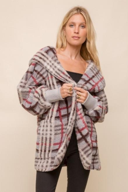 Hem & Thread Grey Checkered Sherpa Fleece Long Sleeve Cozy Open Jacket