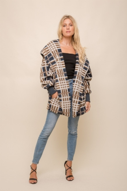Hem & Thread Navy Checkered Sherpa Fleece Long Sleeve Cozy Open Jacket
