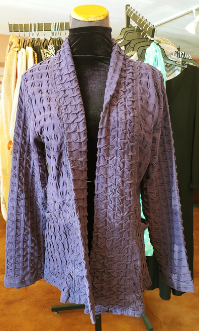 Komil Grape Cotton Textured Waffle Pattern Long Sleeve Open Front Jacket with Pockets