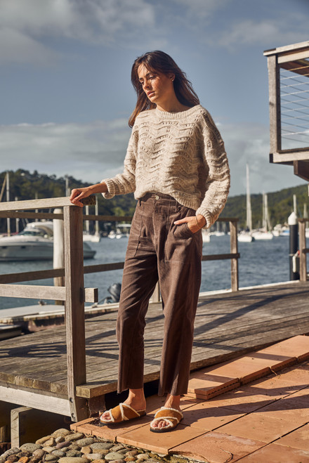 Little Lies Chocolate Cotton Relaxed Fit Raw Hem Cord Pant