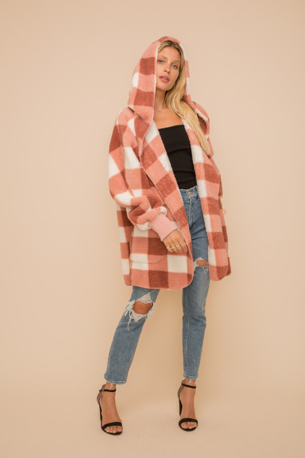 Hem & Thread Cream & Mauve Print Sherpa Fleece Long Sleeve Cozy Open Jacket