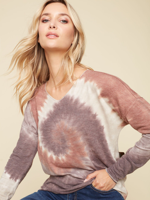 Charlie B Sienna Tie Dye Relaxed V-Neck Dolman Long Sleeve Knit Top