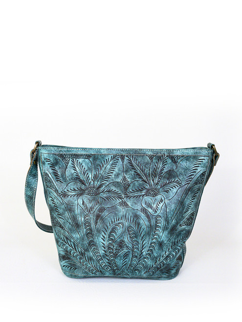Leaders in Leather Aqua Hand Tooled Classic Bucket Leather Bag