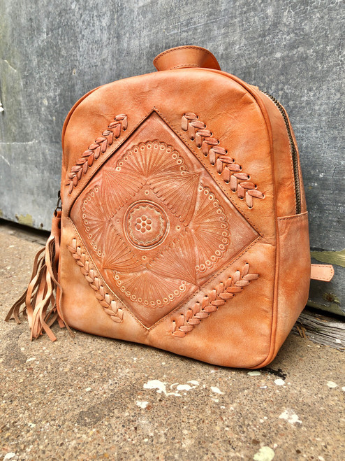 Leaders in Leather Coral Mandala Hand Tooled Adjustable Strap Backpack