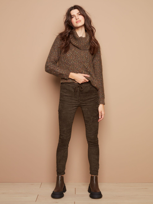 Charlie B Olive Green Solid Stretch Suede Pull on Pant with Pockets