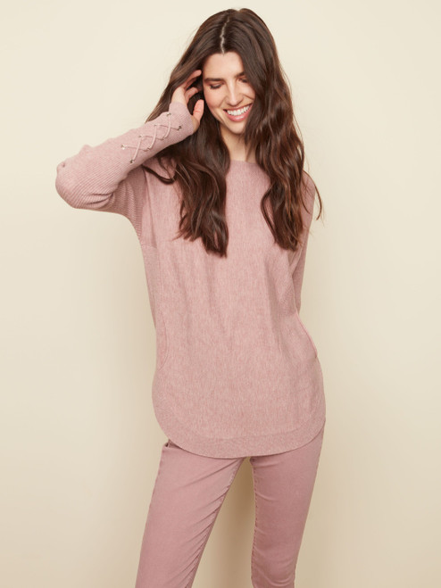 Charlie B Misty Pink Boat Neck Long Sleeve Knit Top with Pockets